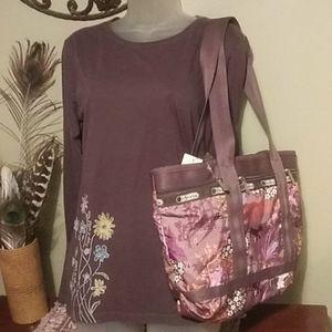 le Sportsac tan vinyl bag with make up bag ..